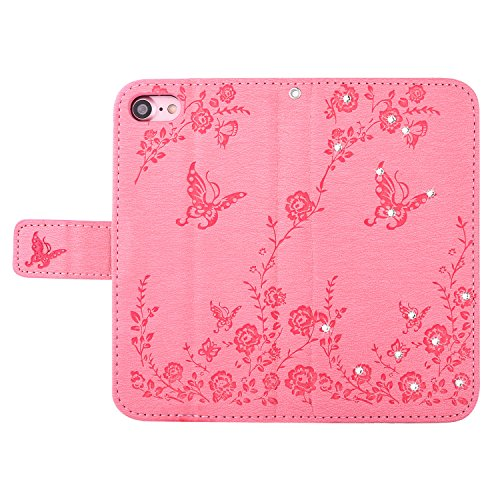 iphone 7 Hülle,TOCASO Wallet Case iphone 7 / iphone 8Handyhülle iphone 7 / iphone 8 Klapphülle Stand Karte Halter -Schmetterlinge Rosa (Designer-geldbörse Iphone Fall)