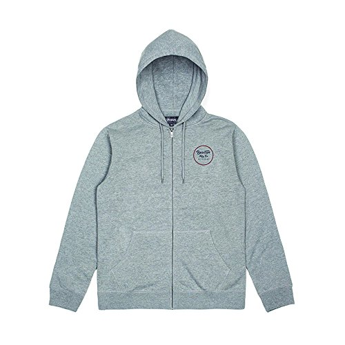Brixton Herren Zip Up WHEELER Hooded  Heather Grey, S -