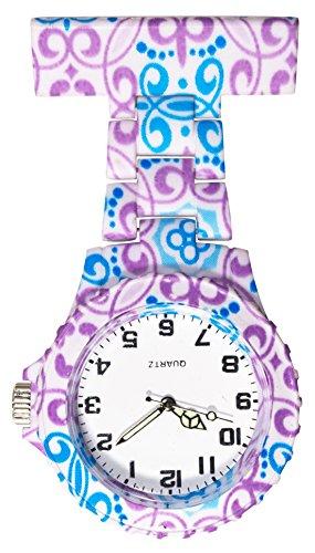 Ellemka JCM-2102 - Klassische Schwesternuhr Clip zum Anstecken FOB Kittel Krankenschwester Pflege-r Quarz Puls-Uhr Hänge-Band Ansteck-Nadel Fashion Trend Art Design Pattern - Blue Violet Henna (Krankenschwester-nadel)