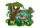 nikima - 070 Wandtattoo Das Dschungelbuch Mogli Balu Shir Khan Bagkira Kaa - in 3 Größen - niedliche Kinderzimmer Sticker Babyzimmer Aufkleber süße Wanddeko Wandbild Junge Mädchen (1250 x 974 mm)