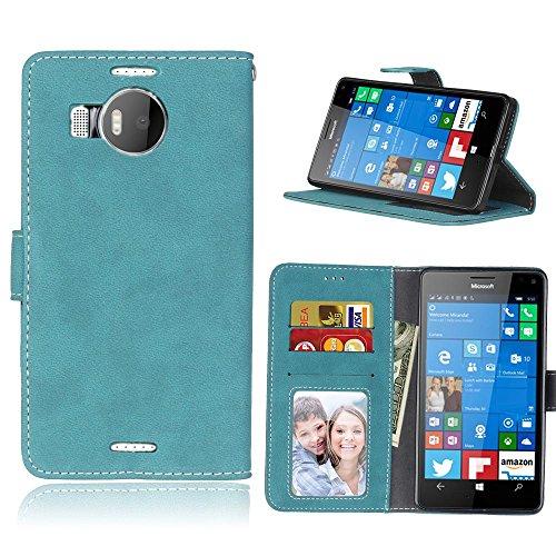 Microsoft Lumia 950 XL (5,7 Zoll) Hülle, Cozy hut TPU Silikon Hybrid Handy Hülle Matte Series Case Durchsichtig Stoßfest Tasche Schutz Scratch-Resistant de protection Case Tasche Etui Shell für Microsoft Lumia 950 XL (5,7 Zoll) Schutzhülle Folio Magnetverschluss Flip Case Wallet Taljereep Fall Handyhülle mit Kartenfach und Standfunktion - Blau scheuert