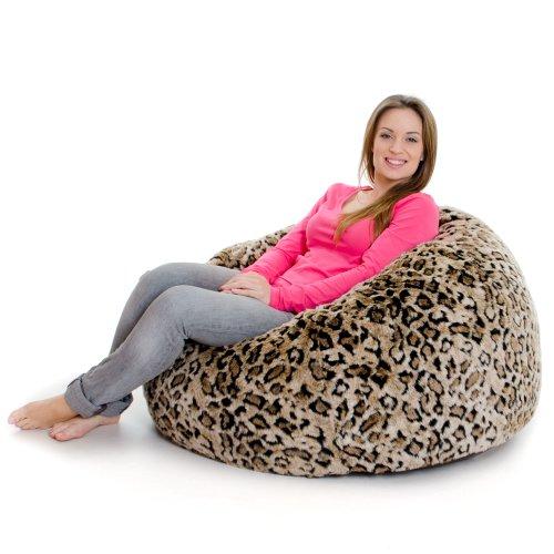 ICON XL Panelled Faux Fur Bean Bag Chair - Extra Large Bean Bags - Large Designer Bean Bags (Leopard)