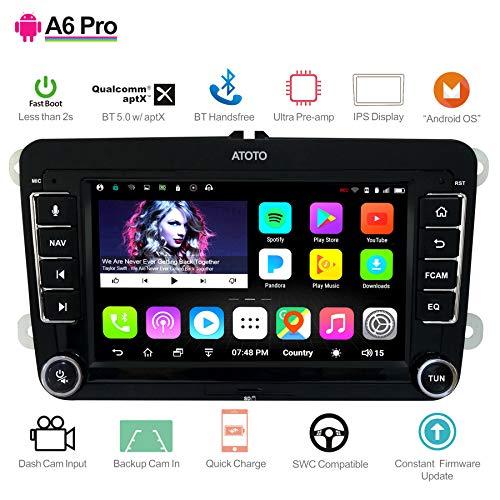 [Per Volkswagen/VW] ATOTO A6 Pro A6YVW721PRB Navigazione audio/video per auto doppio DIN Android- 2 x Bluetooth con aptX - Carica cellulare/Preamplificatore ultra -Autoradio Multimedia,WiF