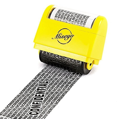 Miseyo Breit Rollstempel Identität Diebstahl Stempel 1.5 Zoll Perfekt für Datenschutz - Gelb