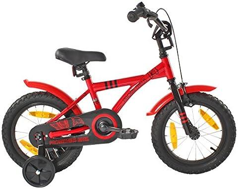 PROMETHEUS Vélo enfant pour fils 14 pouces en rouge & noir avec petites roues | Frein à tirage et frein à rétropédalage | à partir de 4 ans | 14