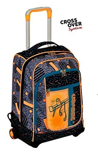 Trolley seven round - swag boy - nero arancione - spallacci a scomparsa! uso zaino scuola e viaggio