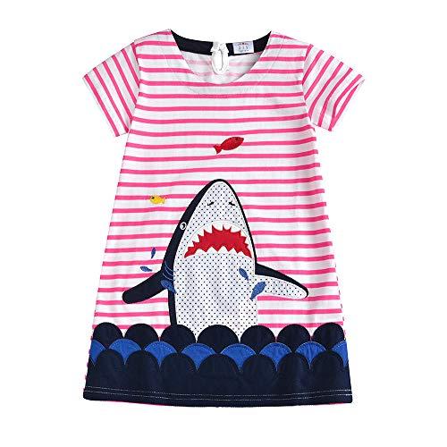 VIKITA Mädchen Sommer Streifen Baumwolle T-Shirt Kleid EINWEG SMK014 8T -