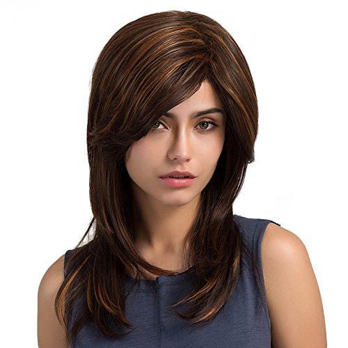 PerGrate Damenperücke, Kunsthaar, langes, glattes Haar, 55 cm, Braun