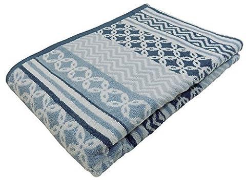GEOMETRIC GRADED STRIPE BLUE WHITE 100% COTTON BATH SHEET TOWEL 90X140CM