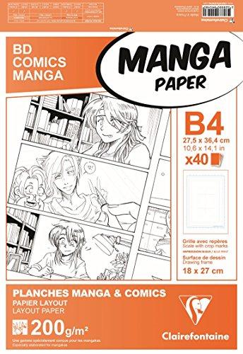 Clairefontaine 94048C Manga Etui BD/Comic (DIN B4, 27,5 x 37,4 cm, 40 Blatt, 200 g, geeignet für...