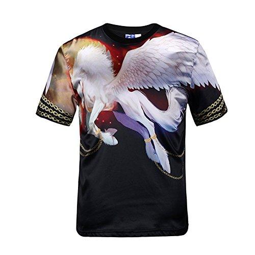 Yonbii Männer 3D Druck Tier Seide Tiere Runde Tops Grafik T-Shirt Goth Punk T-Shirt Neu Beige