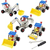 D-Mcark 5 In 1 Educational Toy Metal Build-n-Play Assemble Disassemble Vehicle Creative Construction Building Block Kit Vehicle Copter Model Building Toy