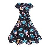VEMOW Mid-Season Elegante Damen Damen Vintage Bodycon Kurzarm Casual Täglichen Tanz Retro Abend Party Prom Swing Kleid Faltenrock Abendkleider(Weiß, EU-42/CN-L)(Schwarz 3, EU-42/CN-L)