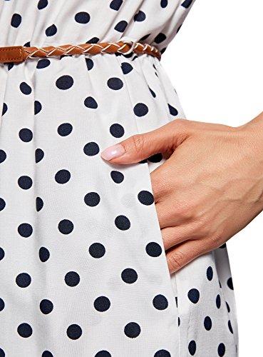 oodji Ultra Damen Ärmelloses Kleid aus Bedruckter Viskose Weiß (1279D)