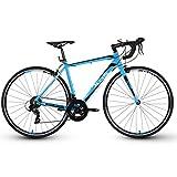 POTHUNTER XDS-RX200 Rennrad 700C Carbon Rennrad Mit 14-Fach Getriebe Und Zweischeiben-Scheibenbremse,Black-Blue