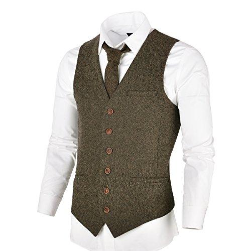 VOBOOM Herren Slim Fit Tweed Anzug Premium Weste aus Wollmischung mit Fischgrätmuster MEHRWEG