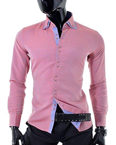 D&R Fashion Moda Uomo Camicia con strati sovrapposti classico taglio casual formali del partito pallido Colori Rosso