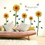 Wasserdichte abnehmbare selbstklebende Sonnenblume Wandaufkleber Home Dekorationen für Windows Wohnzimmer Küche Kinder Schlafzimmer Blumen Home Decals,135 * 134cm