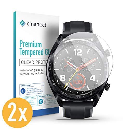 smartect Panzerglas für Huawei Watch GT/GT Active/GT Elegant [2 Stück] - Bildschirmschutz mit 9H Härte - Blasenfreie Schutzfolie - Anti Fingerprint Panzerglasfolie
