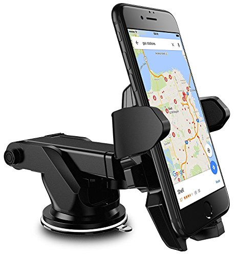 E LV Car Mount, Adjustable Car Phone Holder Universal Long Arm/Neck 360°Rotation with Reusable Suction Cup for Dashboard and Windshield for iPhone 7/7Plus/6/6s/6Plus,Samsung,Sony,HTC - Black