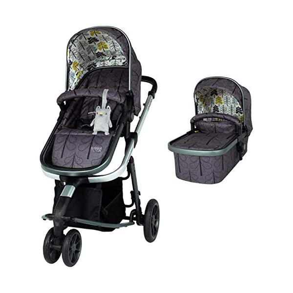 Cosatto Giggle 3 Pram & Pushchair Fika Forest Cosatto Enhanced performance. unique tyre material and all-round premium suspension give air-soft feel. Comfy all-round. spacious carrycot for growing babies.  washable liner. reversible reclining seat. Nippy 3-wheeler. sporty, streamlined manoeuvrability helps negotiate tight spots. 2
