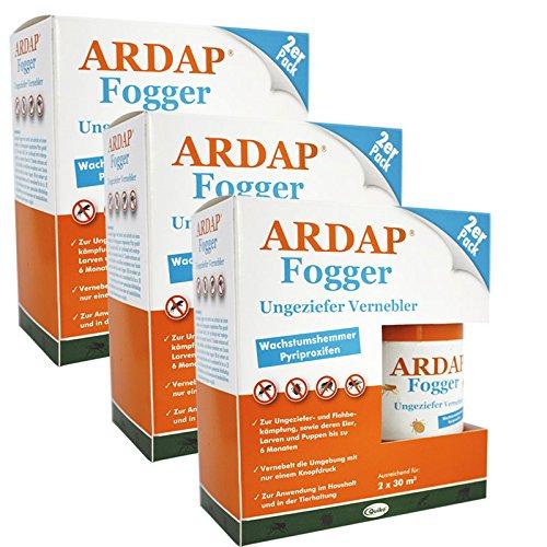 3 x 2 x 100ml Ardap Fogger Doppelpack Ungeziefer Vernebler für 2 Räume bis 30 m² (Pet-vernebler)