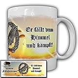 Der deutsche Fallschirmjäger Bundeswehr Grüne Teufel fällt vom Himmel und kämpft! stürzender Adler - Tasse Kaffee Becher #15563
