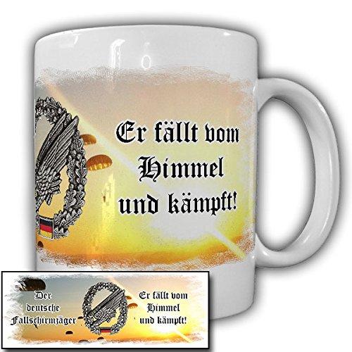 Der deutsche Fallschirmjäger Bundeswehr Grüne Teufel fällt vom Himmel und kämpft! stürzender Adler - Tasse Kaffee Becher (Fallschirmjäger Uniform)