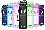 MAIGG Best Sports WasserFlasche Trinkflasche - 500ml & 1000ml - Eco Friendly & BPA-freiem Kunststoff - für das Laufen, Fitness, Yoga, Im Freien und Camping - Schnelle Wasserdurchfluss , Flip Top, öffnet sich mit 1-Click - Wiederverwendbare mit dicht schließendem Deckel (Schwarz, 500ml-17oz)