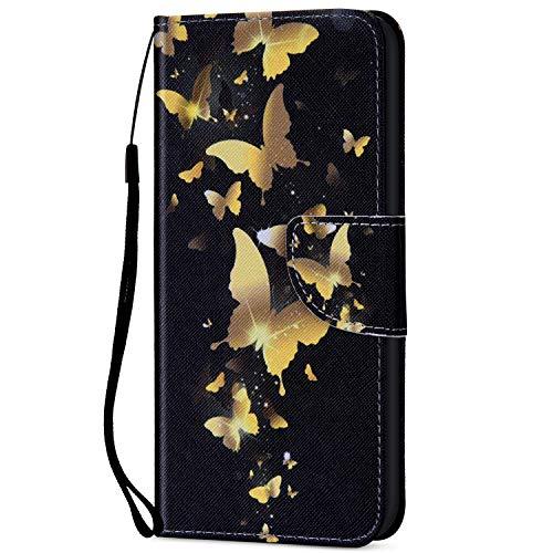 Kompatibel für Xiaomi Redmi 5 Plus Hülle Ledertasche Flip Case,QPOLLY Premium Leder Gemalt Muster Klapp Schutzhülle im Bookstyle mit Kredit Karten Fach Magnet Handy Hülle Tasche,Goldener Schmetterling