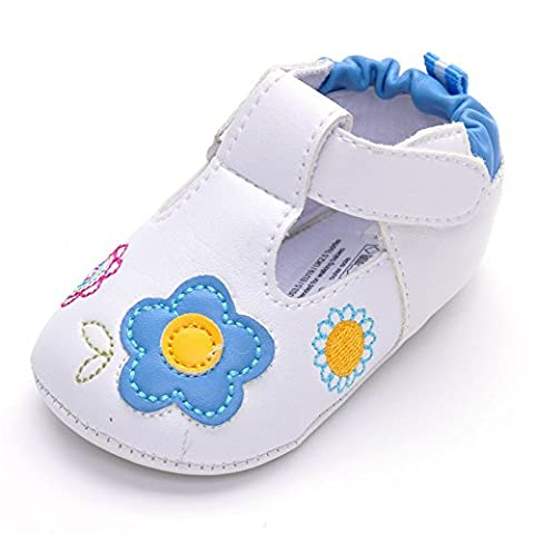 Toddler Girls PU Leather Sneakers with Sunflower Blue 6-12