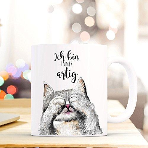 ilka parey wandtattoo-welt® Tasse Becher Kaffeetasse Kaffeebecher Katzentasse Katze mit Spruch Sprichwort Zitat Ich bin immer artig... ts407