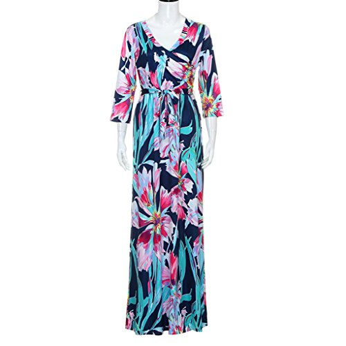 Vovotrade Frauen V-Ausschnitt Maxi Abend Party Blumen Sundress Blau