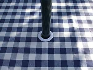 140x 200cm Nappe ovale en PVC/vinyle–Vichy Bleu avec trou pour parasol