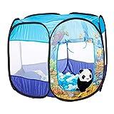 Relaxdays 10024759 Bällebad Unterwasserwelt, 100 Ball Pool, Pop Up Spielzelt, Indoor & Outdoor, HBT 77 x 95 x 85 cm, blau