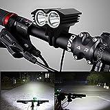 MASO Lot de phares de vélo LED Rechargeables pour vélo de Montagne 5 000 lmX3 8,4 V T6 Super Lumineux Facile à Installer Étanche