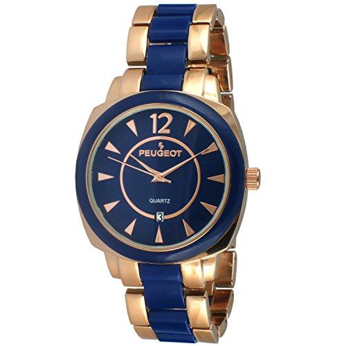 Peugeot Women's 7096RBL Rose-Gold and Blue Bracelet Watch