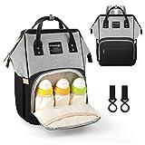 Vemingo Baby Wickelrucksack Wickeltasche Babywickeltasche Reise Rucksack mit Isolationstaschen für Männer Frauen mit 2 Kinderwagen-Haken, schwarz und grau