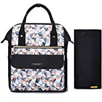 mommore Fashion Baby Diaper Backpack Travel Nappy Tote Bag Roomy Changing Backpack with Changing Pad for Baby Care, Black