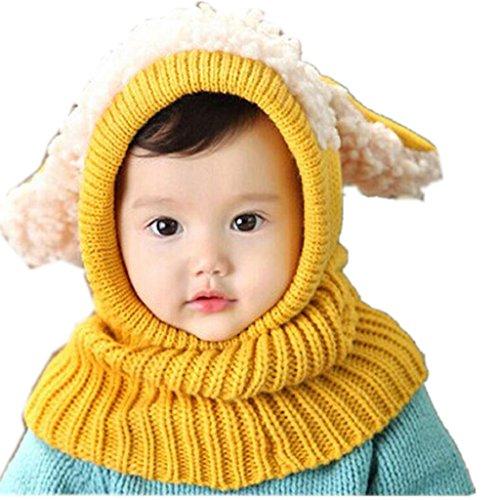 Bebé pañuelos de cuello, RETUROM Moda de invierno nuevo bebé encantadora linda woolen Cofia de la capilla de la bufanda capsula los sombreros (Amarillo)