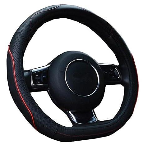 Sclmotor D Type de cuir véritable Housse de volant avec Sports courbes pour Nissan Rogue 2017Volkswagen Polo Passat VW Golf 72014201520162017