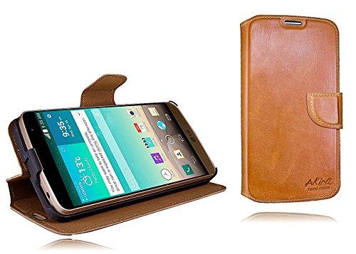 Akira Handmade Original Premium Echtleder Wallet Case für LG L Bello Braun