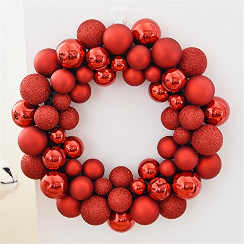 Boule Noël Décoration guirlandes chaîne boule Uniteds decorated Christmas Tree decoration vitrine suspendus accessoires de scène, Fleur rouge leis ball pendaison /1kg