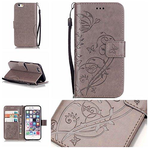 iPhone Case Cover Folio-Schlag-Standplatz-Fall, Mappen-Kasten mit Bargeld und Karten-Slot Premium-PU-Leder-Schutzhülle aus Silikon für iPhone7 ( Color : Red , Size : IPhone 7 ) Gray