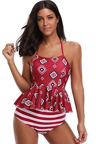SherryDC Damen Bikini mit Blumenmuster, hoher Ausschnitt, hohe Taille, Badeanzug - Rot - Large (Passt Mögen 40 DE/42 DE) (Junior Hohen Bikini-tops Hals)