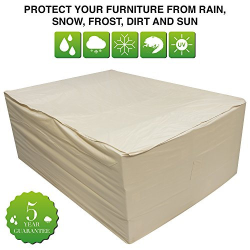 Oxbridge Beige Large Patio Set/Oval/Rectangle Table Cover Garden Outdoor Furniture Cover 2.8m x 2.06m x 1.08m / 9.2ft x 6.75ft x 3.5ft 5 YEAR GUARANTEE