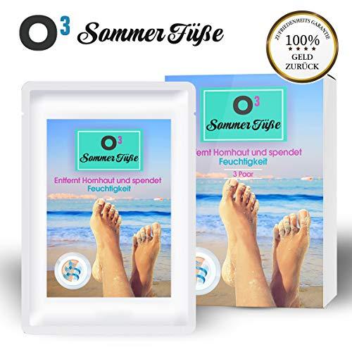 O³ Sommer Füße Fußmaske zur Hornhautentfernung // 3 Paar Hornhaut Socken // inkl. Deutscher Gebrauchsanweisung // Foot Peeling Mask - Fuß-spa-maske