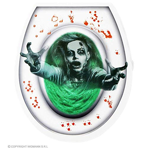 Lively Moments Toilettendeckel Dekoration blutiger Zombie in grünem Wasser / WC Aufkleber Halloween