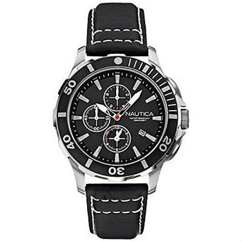Nautica BFD 101DIVE STYLE CHRONO A20109G Schalter Stahl Quandrante schwarz Armband Leder