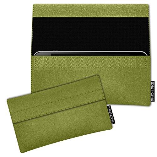 SIMON PIKE Apple iPhone 7 / 6 / 6S Filztasche Case Hülle 'NewYork' in elefantengrau 1, passgenau maßgefertigte Filz Schutzhülle aus echtem Natur Wollfilz, dünne Tasche im schlanken Slim Fit Design für gruen Filz (Muster 1)